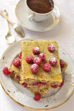 Steamed pudding cake with raspberries and coffee Stock Photo