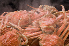 Steamed red king crab for meal on the table in restaurant Royalty Free Stock Photos