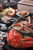 Steamed red king crab for meal on the table in restaurant Stock Photo