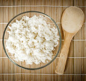 Steamed rice on bamboo background. Asian cuisine Royalty Free Stock Photos