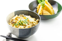 Steamed rice and Bamboo shoot called Takenoko Gohan Stock Photos