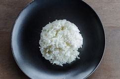 Steamed Rice on black dish Royalty Free Stock Images