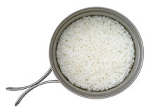 Steamed rice. In a camping titanium pot Royalty Free Stock Image