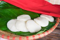 Steamed rice flour cake parking on street in Vietnam Royalty Free Stock Photo