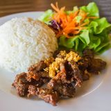 Steamed rice with fried pork. Thai cuisine ,steamed rice with fried pork Royalty Free Stock Photography