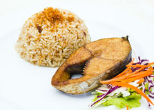 Steamed rice garlic with Fried King mackerel fish Royalty Free Stock Photography