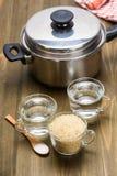 Steamed rice - a recipe Stock Photos