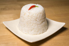 Steamed rice with a red chili Stock Image