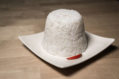 Steamed rice with a red chili Stock Photography