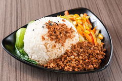 Steamed Rice with Red-Cooked Pork Royalty Free Stock Photography