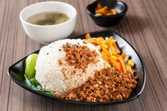 Steamed Rice with Red-Cooked Pork Stock Photos