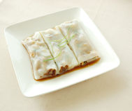 Steamed rice roll with barbecued pork Stock Photo