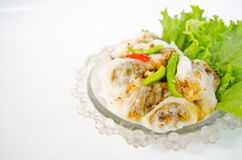 Steamed rice-skin dumplings. Thai dessert eat with chilli and vegetable Royalty Free Stock Image