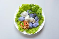 Steamed rice-skin dumplings, Thai style dessert stock photography