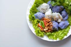 Steamed rice-skin dumplings. Thai style dessert stock photography