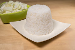 Steamed rice and sliced cabbage Royalty Free Stock Photo