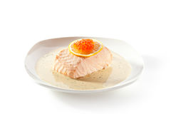 Steamed Salmon with Cream Sauce Royalty Free Stock Photography