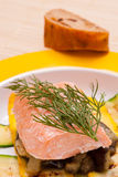 Steamed salmon with dill Royalty Free Stock Image