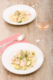 Steamed salmon with dill Stock Images