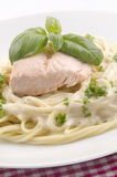 Steamed salmon fillet and spaghetti Stock Photo