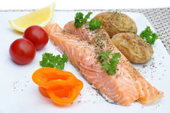 Steamed salmon fillets Royalty Free Stock Photo