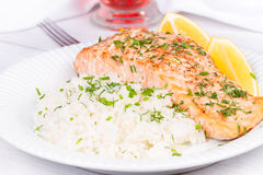 Steamed salmon with fresh herbs Stock Photography