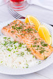 Steamed salmon with fresh herbs and lemon. Rice as a garnish. Stock Images