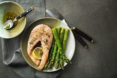 Steamed salmon with asparagus stock images