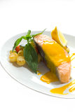 Steamed salmon with mango sauce Stock Photos