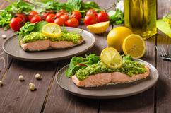 Steamed salmon with pesto Royalty Free Stock Image