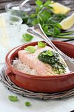 Steamed salmon with pesto and rice garnish Royalty Free Stock Images