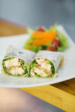 Steamed salmon and salad wrap Royalty Free Stock Photography