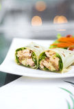Steamed salmon and salad wrap Royalty Free Stock Photos