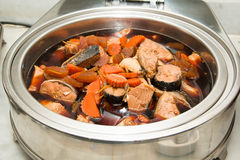Steamed Salmon in Soy Sauce Stock Images