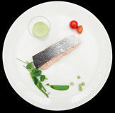 Steamed salmon steak Royalty Free Stock Photos