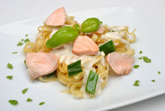 Steamed salmon steak with home made pasta Stock Image