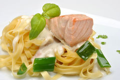 Steamed salmon steak with home made pasta Stock Photos