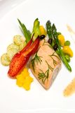 Steamed Salmon stuffed with Bok Choy Stock Photo