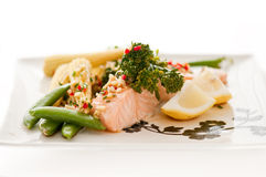 Steamed salmon with vegetables Royalty Free Stock Photography