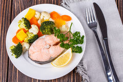 Steamed salmon Royalty Free Stock Images