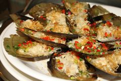 Steamed scallops. Chinese dish Steamed scallops  steamed vermicelli Royalty Free Stock Photos