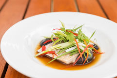 Steamed sea bass fillet. With soy sauce and leek in olive linseed oil Stock Photography