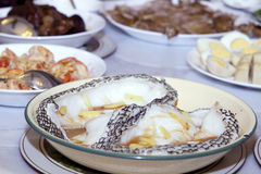 Steamed Sea Bass Fish with Ginger and Soy Sauce Royalty Free Stock Photography