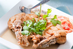 Steamed Sea bass with fish sauce Stock Image