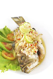 Steamed sea bass with red chili / ingredient include garlic,ging Royalty Free Stock Images
