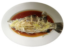 Steamed sea bass in soya sauce Stock Photo