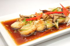 Steamed sea mounts, fish sauce Royalty Free Stock Image