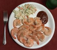Steamed shrimp dinner with coleslaw Royalty Free Stock Photo