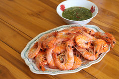Steamed shrimp in dish. On the table with seafood sauce Stock Photo