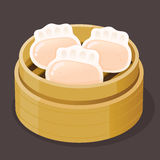 Steamed Shrimp Dumpling Dim Sum. On a bamboo tray, vector illustration Royalty Free Stock Photos